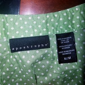 Apostrophe Tops - Apostrophe button down green and white top